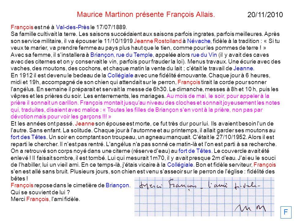 Maurice Martinon présente François Allais.