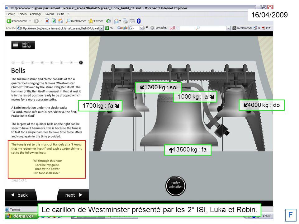 Le carillon de Westminster présenté par les 2° ISI, Luka et Robin.