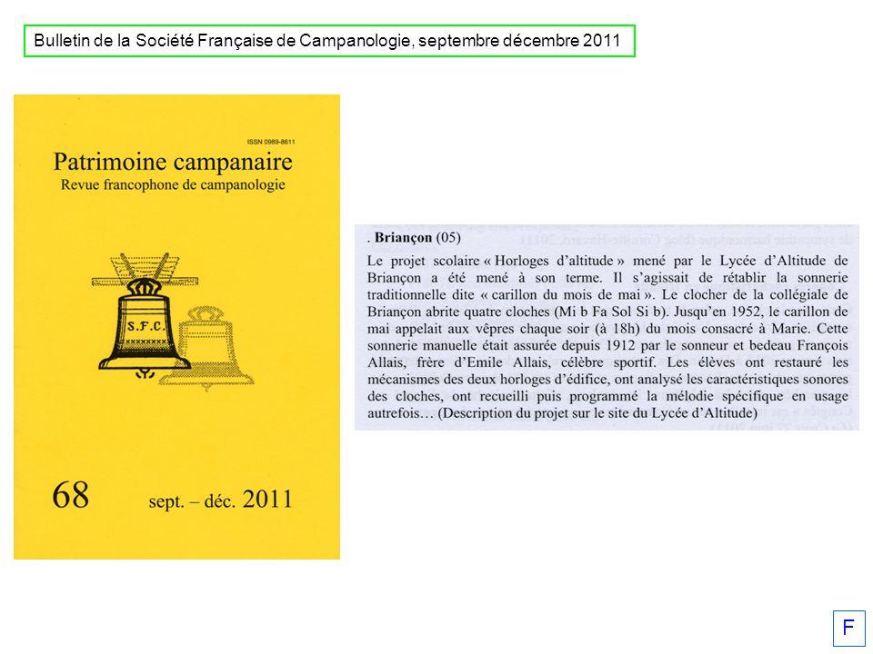 Bulletin de la Société Française de Campanologie, septembre décembre 2011