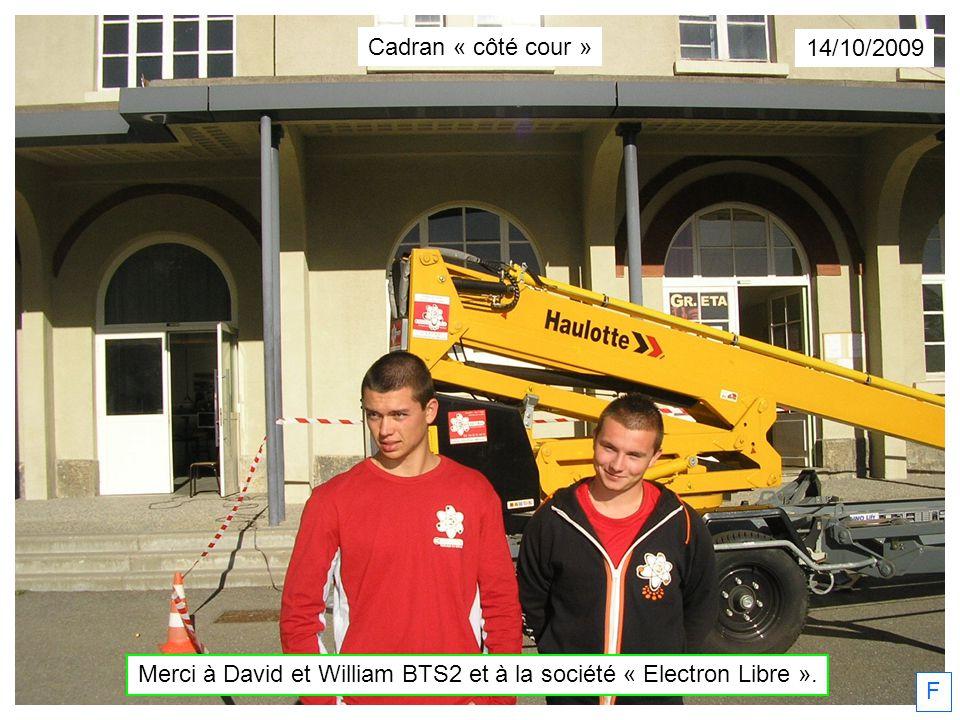 Merci à David et William BTS2 et à la société « Electron Libre ».