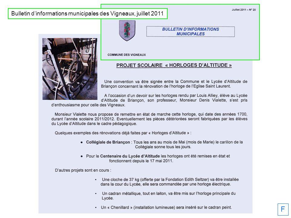 Bulletin d'informations municipales des Vigneaux, juillet 2011