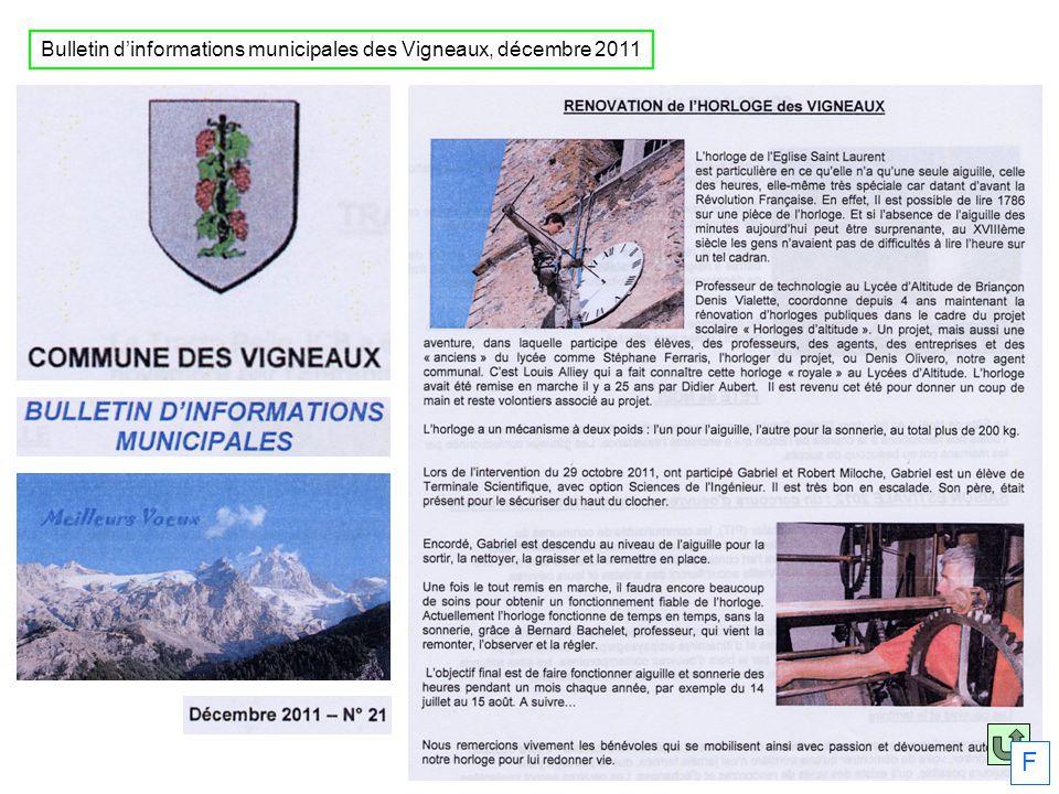 Bulletin d'informations municipales des Vigneaux, décembre 2011