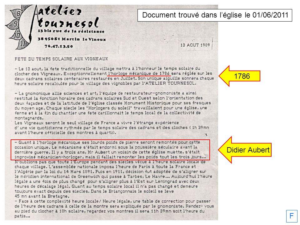 Document trouvé dans l'église le 01/06/2011