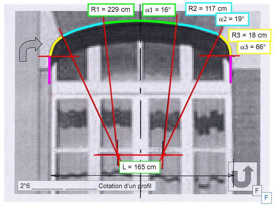 R1 = 229 cm a1 = 16° R2 = 117 cm a2 = 19° R3 = 18 cm a3 = 66° L = 165 cm F