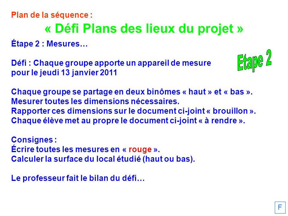 « Défi Plans des lieux du projet »