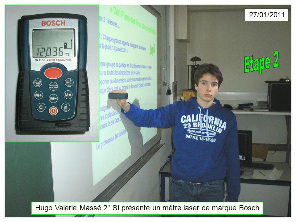 Hugo Valérie Massé 2° SI présente un mètre laser de marque Bosch