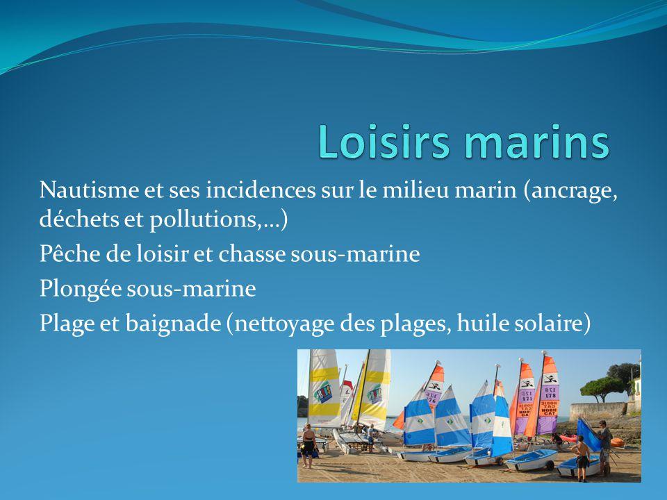 Loisirs marins Nautisme et ses incidences sur le milieu marin (ancrage, déchets et pollutions,…) Pêche de loisir et chasse sous-marine.