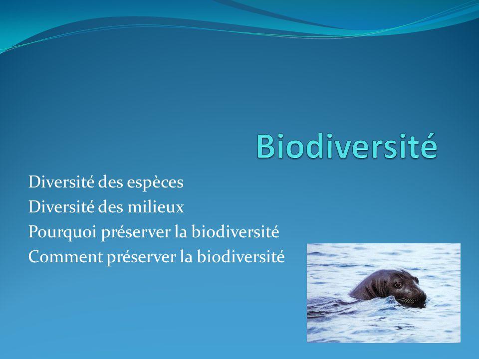 Biodiversité Diversité des espèces Diversité des milieux