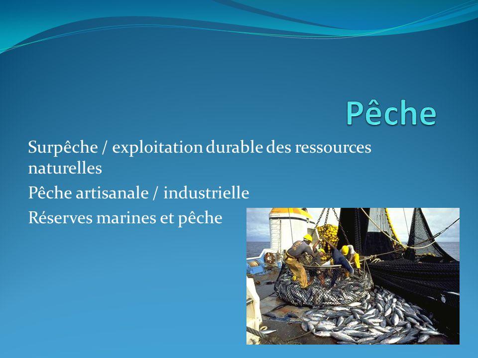 Pêche Surpêche / exploitation durable des ressources naturelles