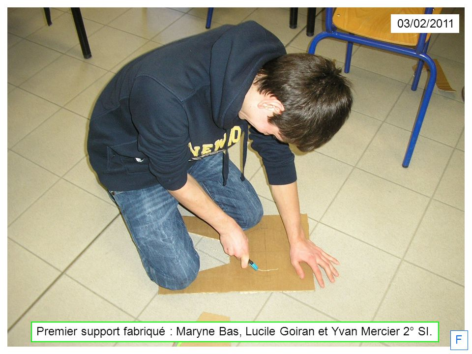 03/02/2011 Premier support fabriqué : Maryne Bas, Lucile Goiran et Yvan Mercier 2° SI. F