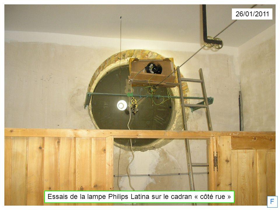 Essais de la lampe Philips Latina sur le cadran « côté rue »