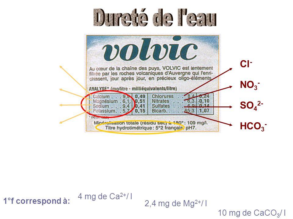 Dureté de l eau Cl- NO3- SO42- HCO3- 4 mg de Ca2+/ l 1°f correspond à: