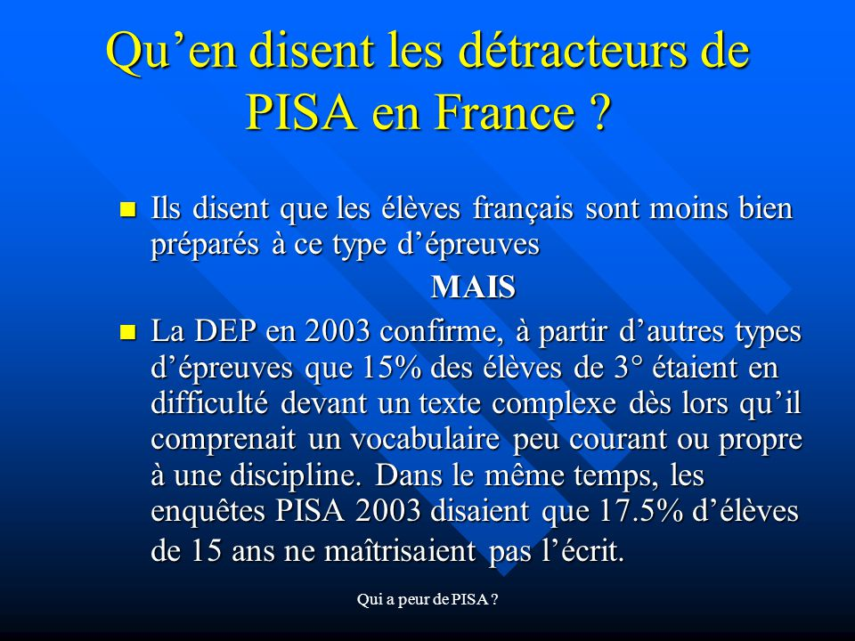 Qu'en disent les détracteurs de PISA en France