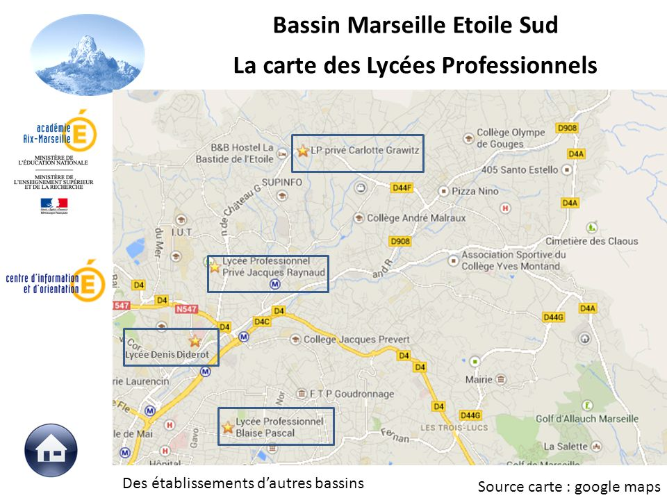 Bassin Marseille Etoile Sud La carte des Lycées Professionnels