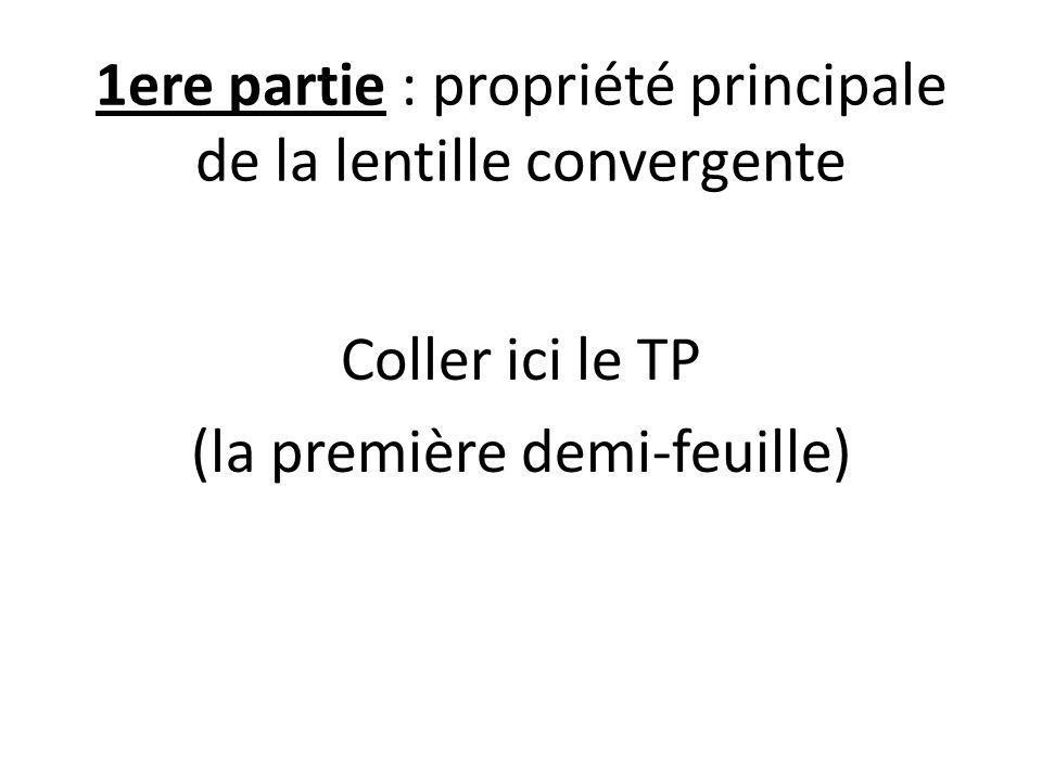1ere partie : propriété principale de la lentille convergente