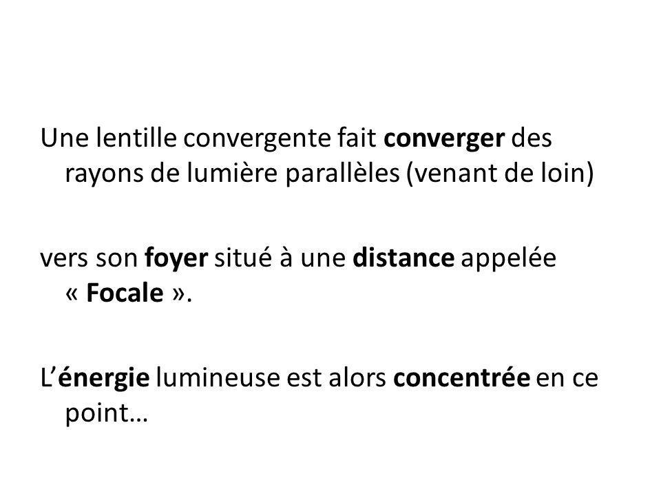 Une lentille convergente fait converger des rayons de lumière parallèles (venant de loin)