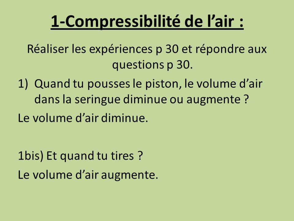 1-Compressibilité de l'air :