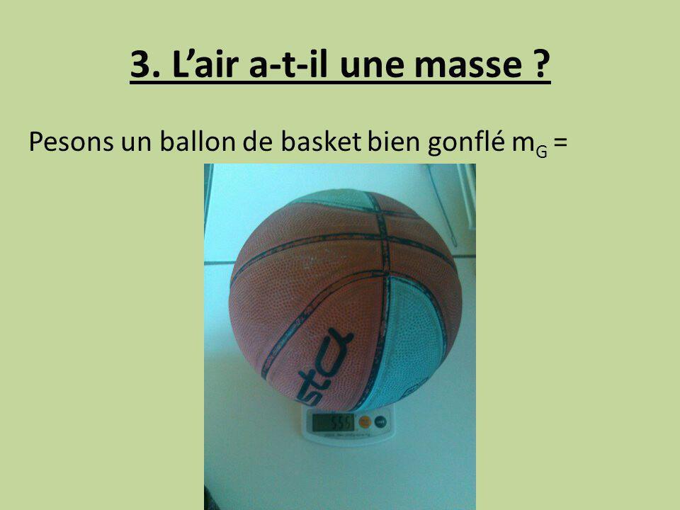3. L'air a-t-il une masse Pesons un ballon de basket bien gonflé mG =