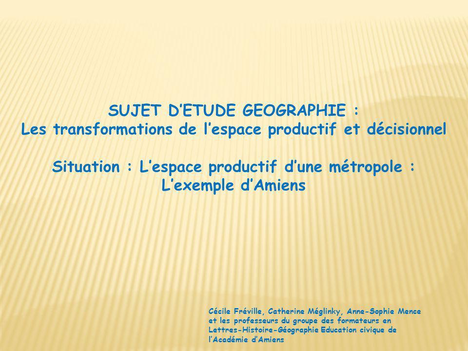 SUJET D'ETUDE GEOGRAPHIE :