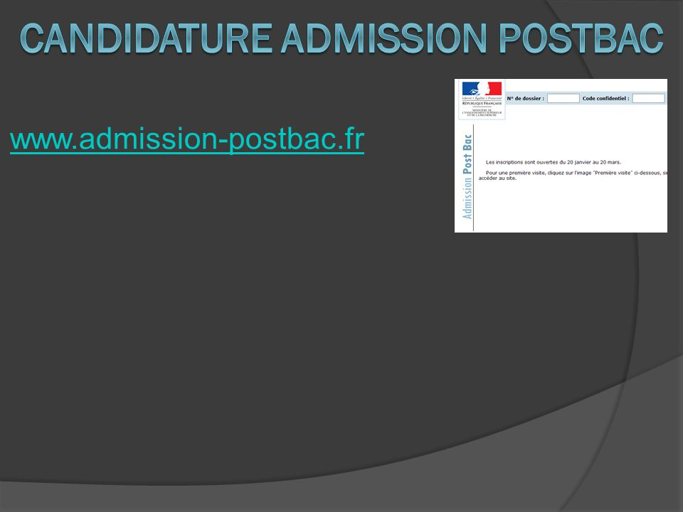 CANDIDATURE ADMISSION postbac