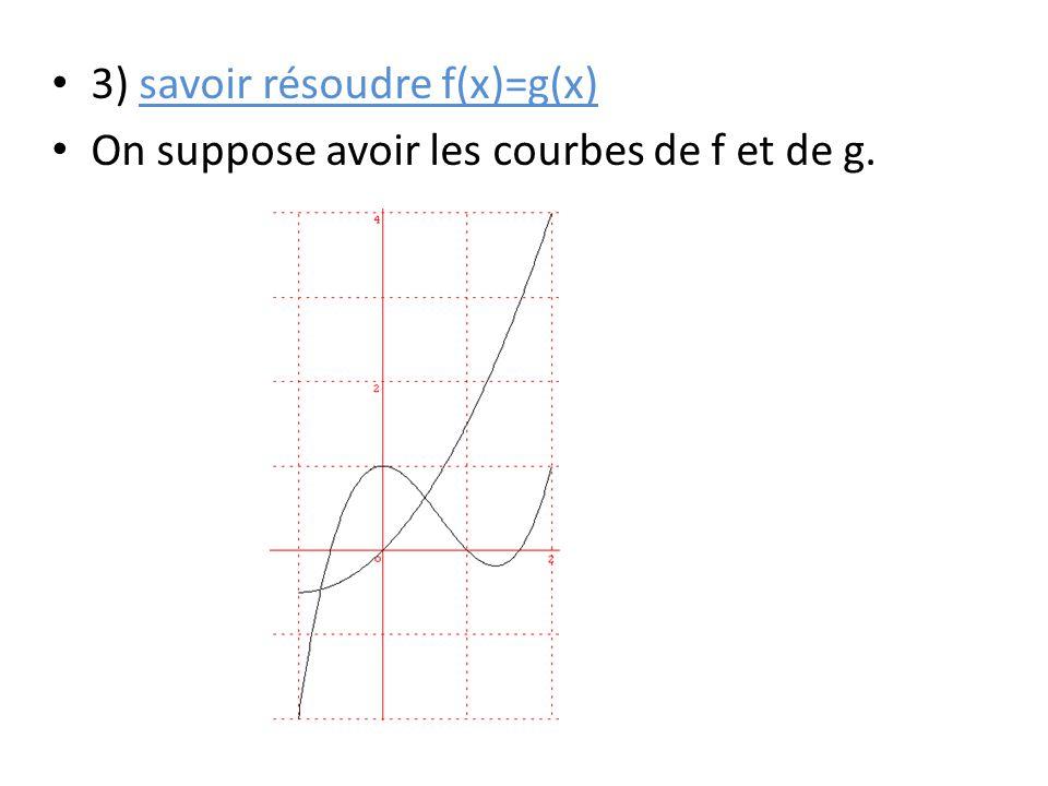 3) savoir résoudre f(x)=g(x)