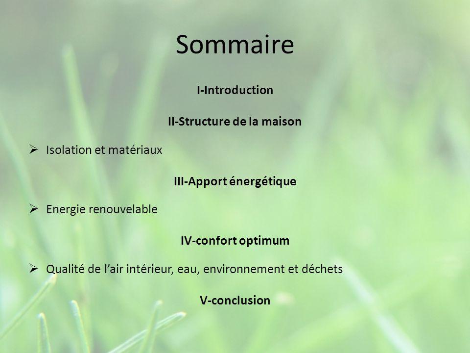 Sommaire I-Introduction II-Structure de la maison