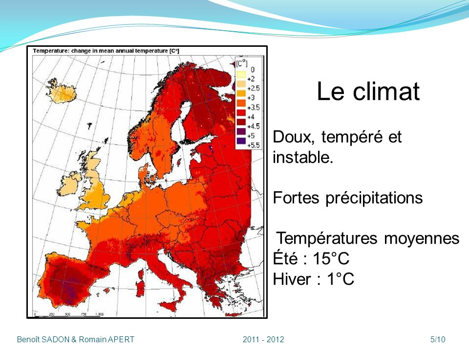 Le climat Doux, tempéré et instable. Fortes précipitations Été : 15°C