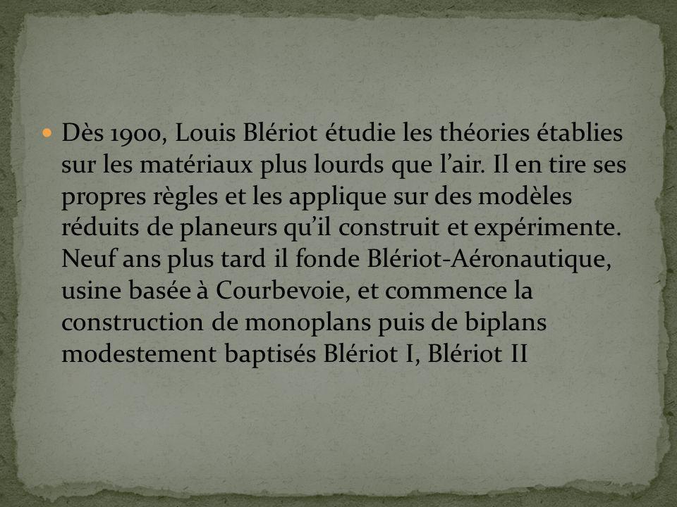 Dès 1900, Louis Blériot étudie les théories établies sur les matériaux plus lourds que l'air.