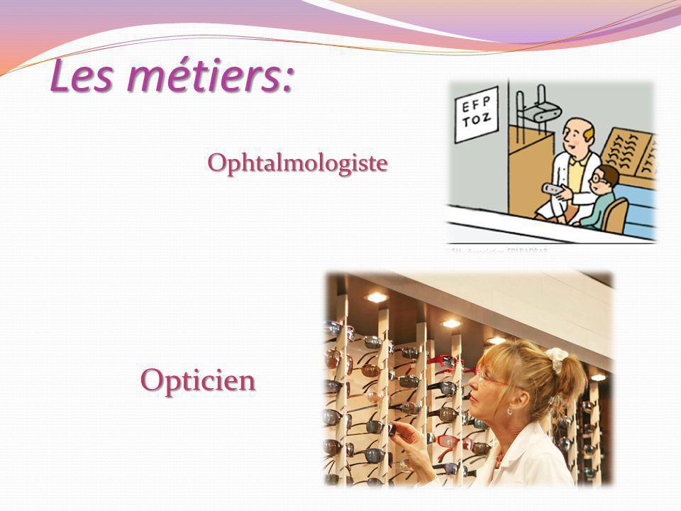 Les métiers: Ophtalmologiste Opticien