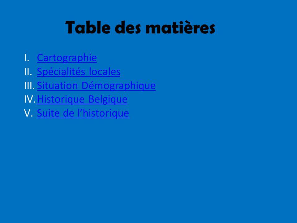 Table des matières Cartographie Spécialités locales