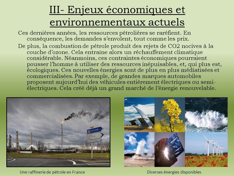 III- Enjeux économiques et environnementaux actuels