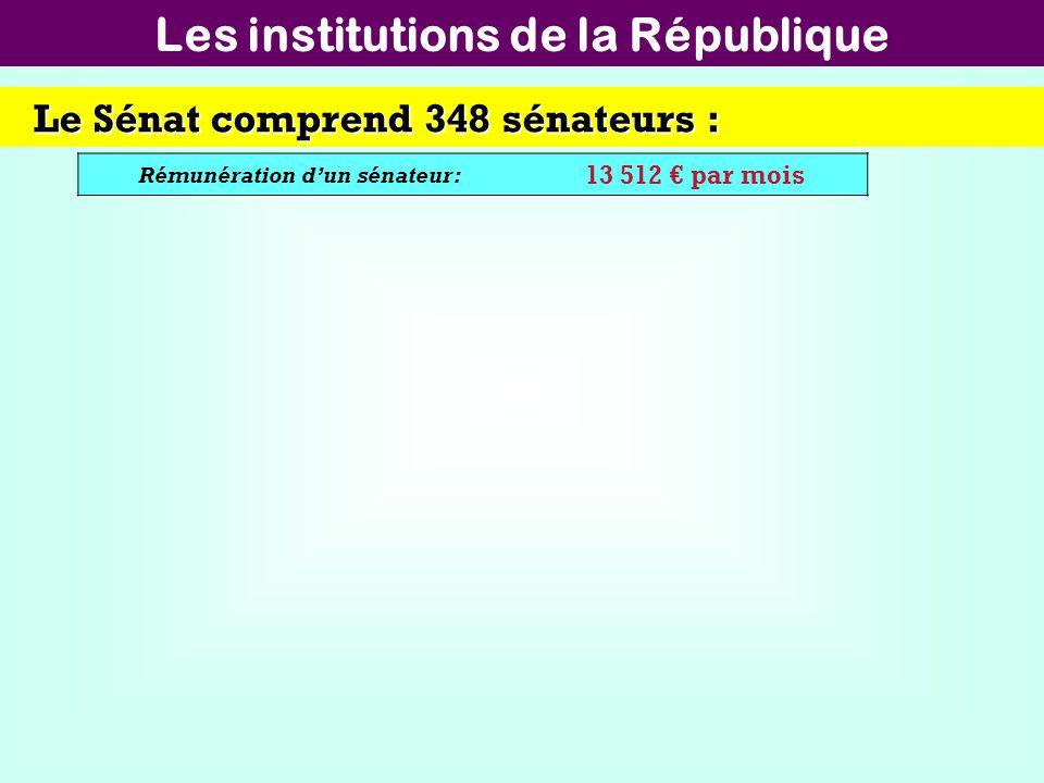 Les institutions de la République Rémunération d'un sénateur: