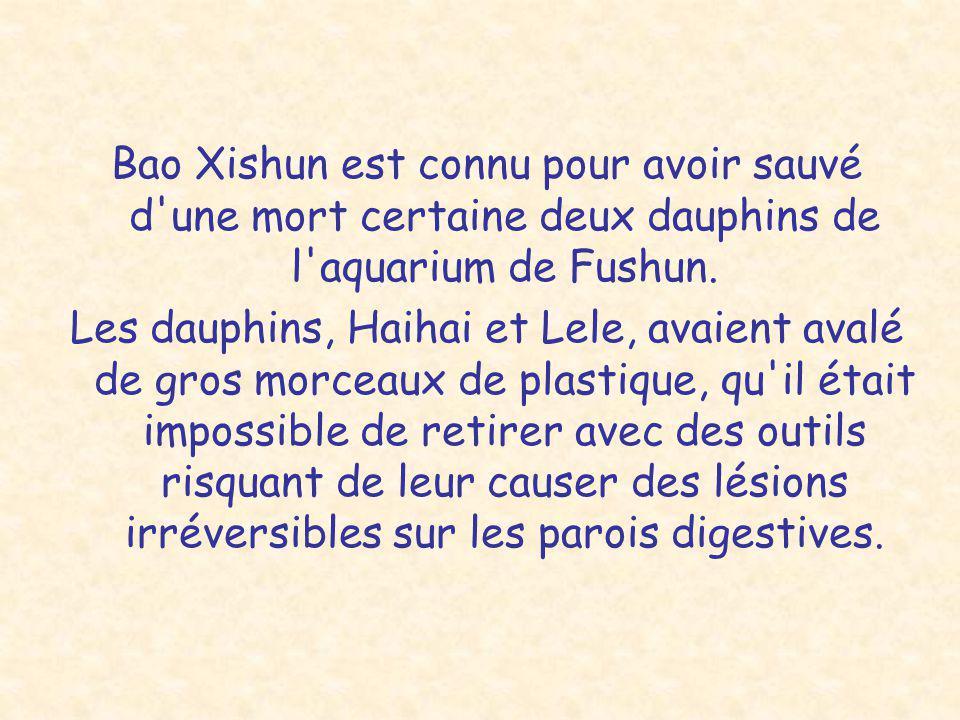 Bao Xishun est connu pour avoir sauvé d une mort certaine deux dauphins de l aquarium de Fushun.