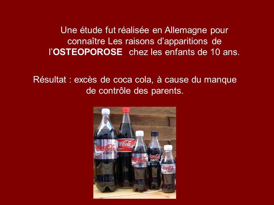 Résultat : excès de coca cola, à cause du manque