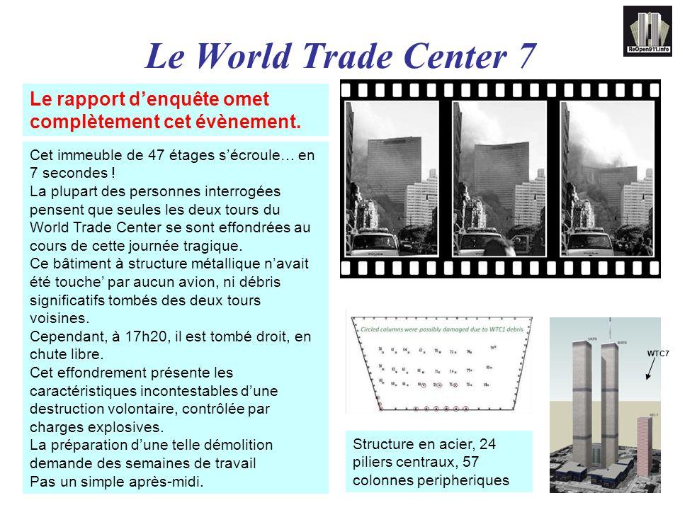 Le World Trade Center 7 Le rapport d'enquête omet complètement cet évènement. Cet immeuble de 47 étages s'écroule… en 7 secondes !