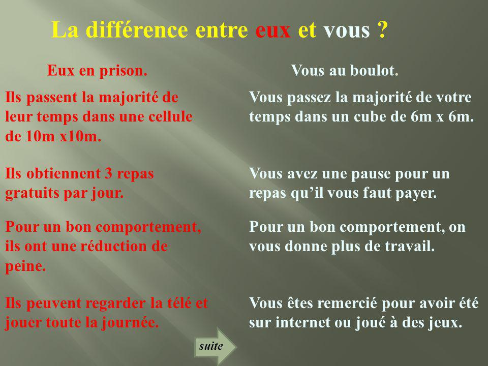 La différence entre eux et vous