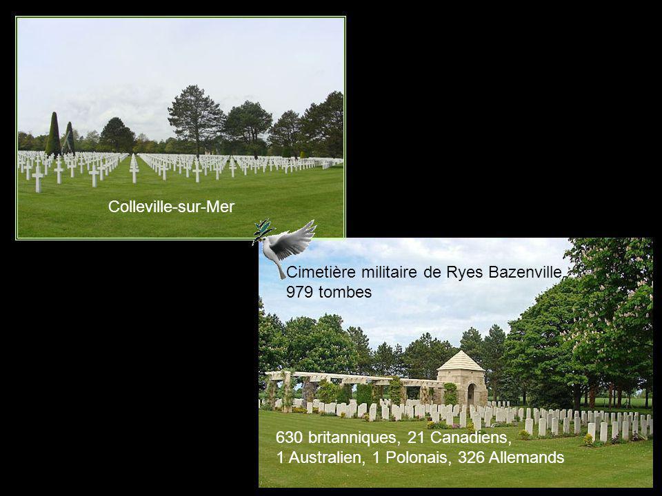 Colleville-sur-Mer Cimetière militaire de Ryes Bazenville. 979 tombes. 630 britanniques, 21 Canadiens,