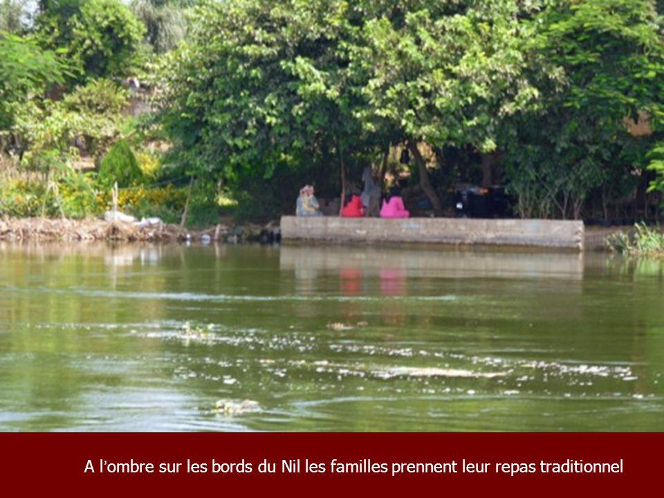 A l'ombre sur les bords du Nil les familles prennent leur repas traditionnel