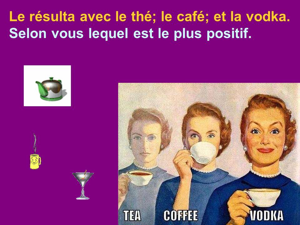 Le résulta avec le thé; le café; et la vodka.