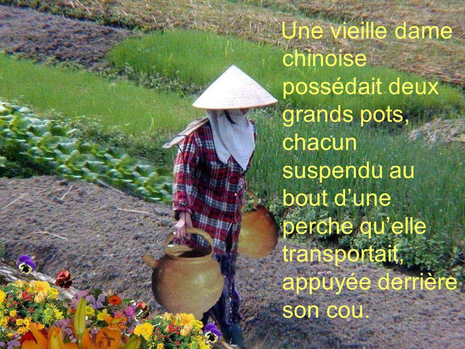 Une vieille dame chinoise possédait deux grands pots, chacun suspendu au bout d'une perche qu'elle transportait, appuyée derrière son cou.