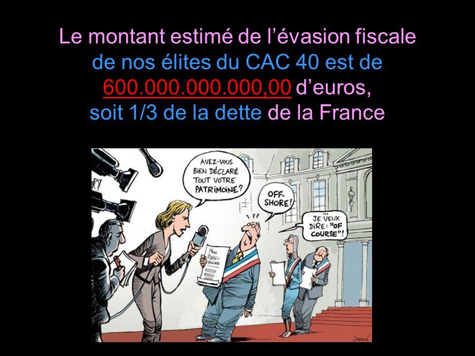 Le montant estimé de l'évasion fiscale de nos élites du CAC 40 est de 600.000.000.000,00 d'euros, soit 1/3 de la dette de la France