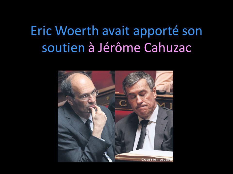 Eric Woerth avait apporté son soutien à Jérôme Cahuzac