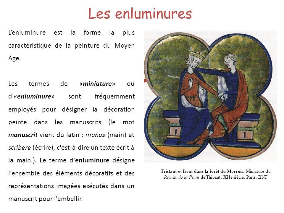 Les enluminures L'enluminure est la forme la plus caractéristique de la peinture du Moyen Age.