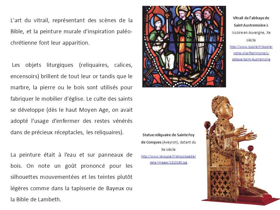 L art du vitrail, représentant des scènes de la Bible, et la peinture murale d inspiration paléo-chrétienne font leur apparition.