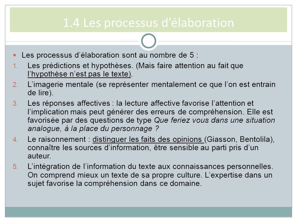 1.4 Les processus d'élaboration