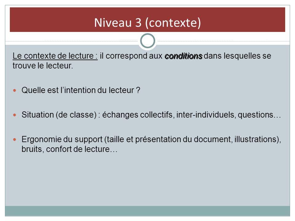Niveau 3 (contexte) Le contexte de lecture : il correspond aux conditions dans lesquelles se trouve le lecteur.