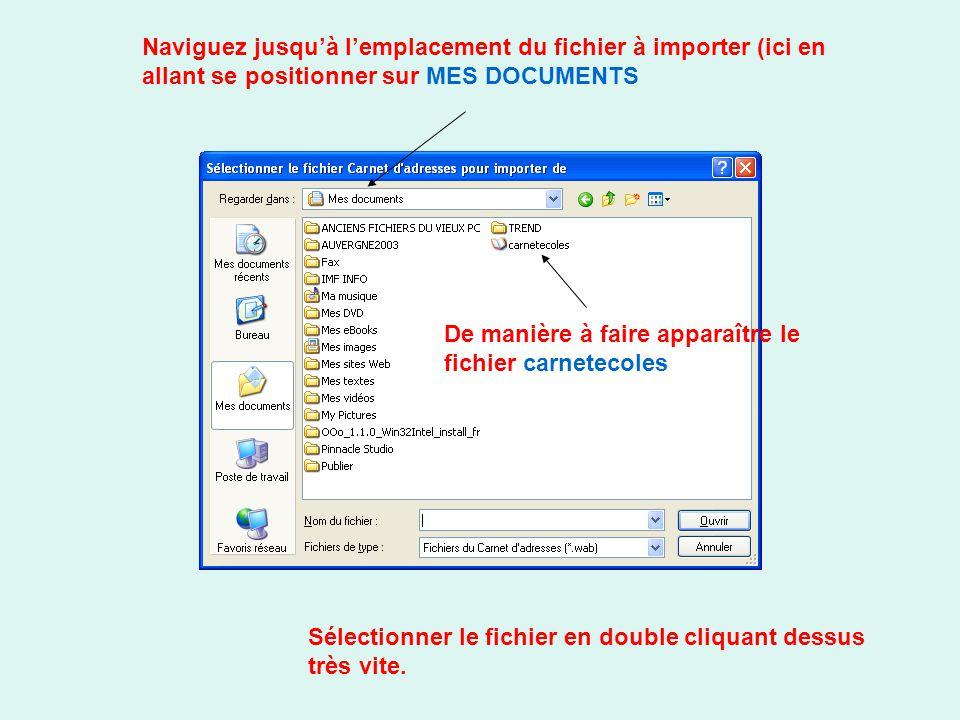 Naviguez jusqu'à l'emplacement du fichier à importer (ici en allant se positionner sur MES DOCUMENTS