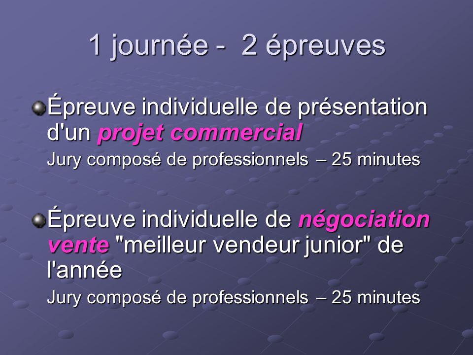 1 journée - 2 épreuves Épreuve individuelle de présentation d un projet commercial. Jury composé de professionnels – 25 minutes.