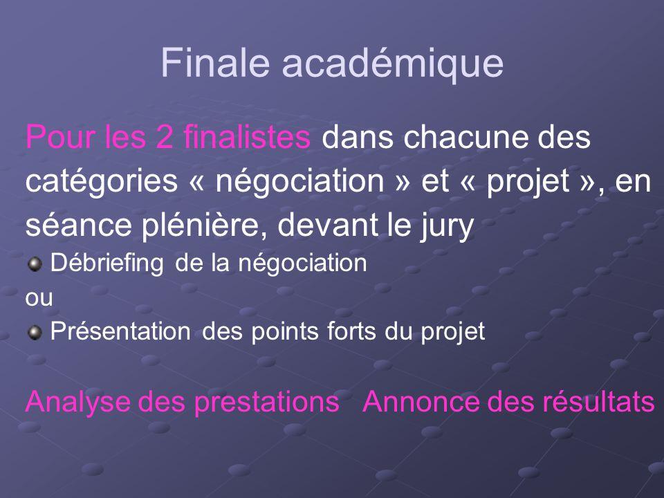 Finale académique Pour les 2 finalistes dans chacune des