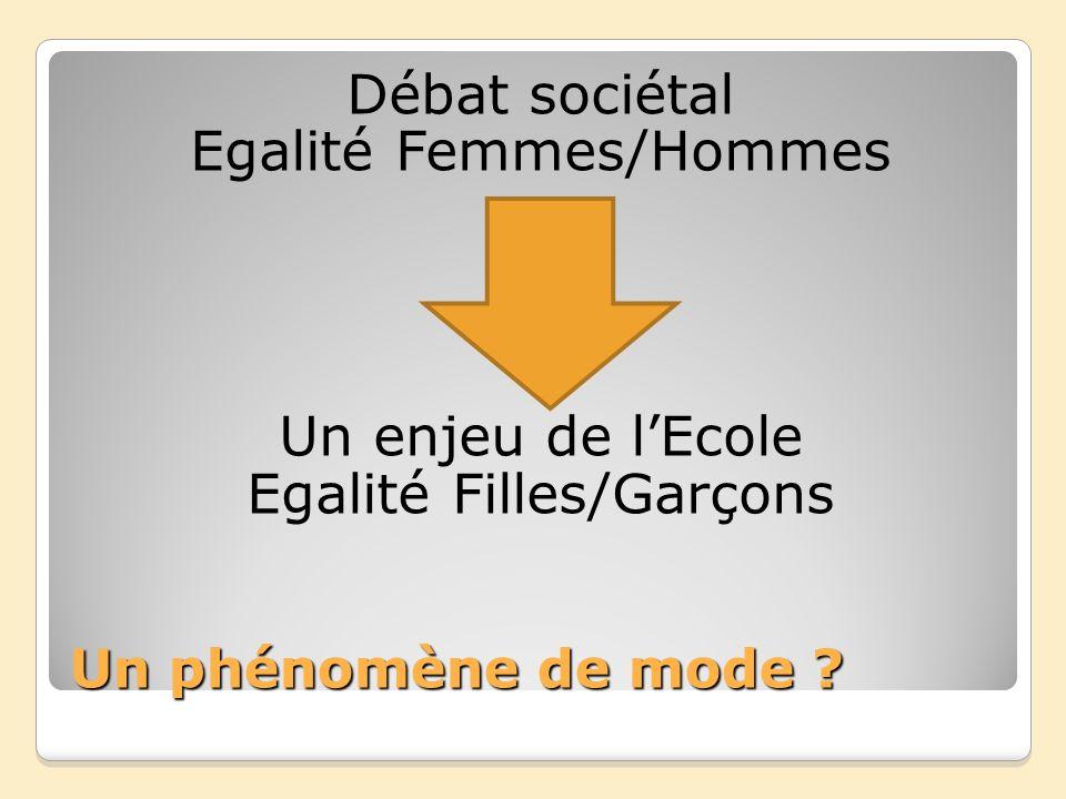 Débat sociétal Egalité Femmes/Hommes Un enjeu de l'Ecole Egalité Filles/Garçons